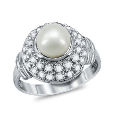 Δαχτυλίδι με Φυσικό Μαργαριτάρι από Λευκό Χρυσό Κ14 DΧ951