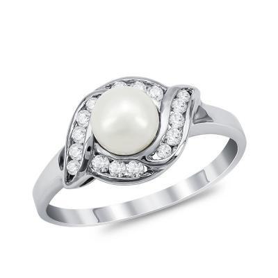 Δαχτυλίδι με Φυσικό Μαργαριτάρι από Λευκό Χρυσό Κ18 DΧ954