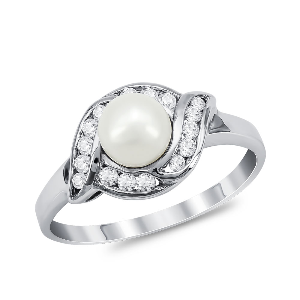 Δαχτυλίδι με Φυσικό Μαργαριτάρι από Λευκό Χρυσό Κ18 DX954