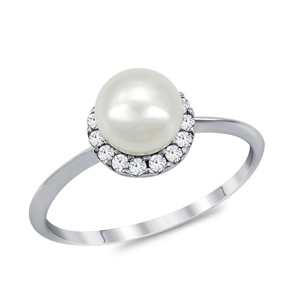 Δαχτυλίδι με Φυσικό Μαργαριτάρι από Λευκό Χρυσό Κ14 DX936