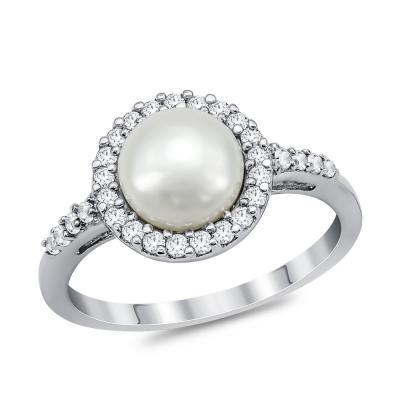 Δαχτυλίδι με Φυσικό Μαργαριτάρι από Λευκό Χρυσό Κ14 DΧ950