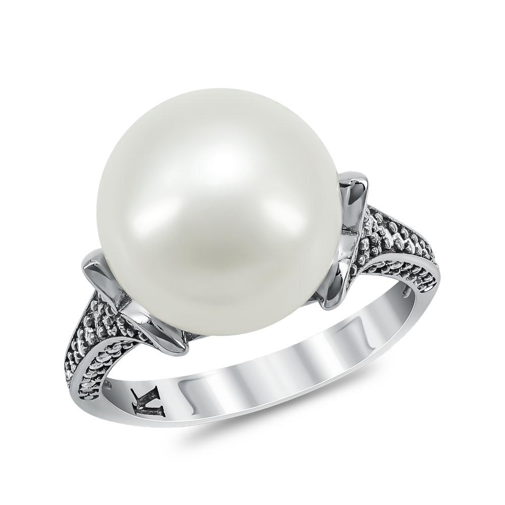Δαχτυλίδι με Φυσικό Μαργαριτάρι από Λευκό Χρυσό Κ14 DX946