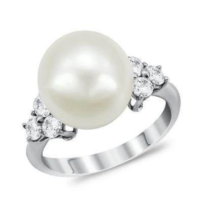 Δαχτυλίδι με Φυσικό Μαργαριτάρι από Λευκό Χρυσό Κ14 DΧ955