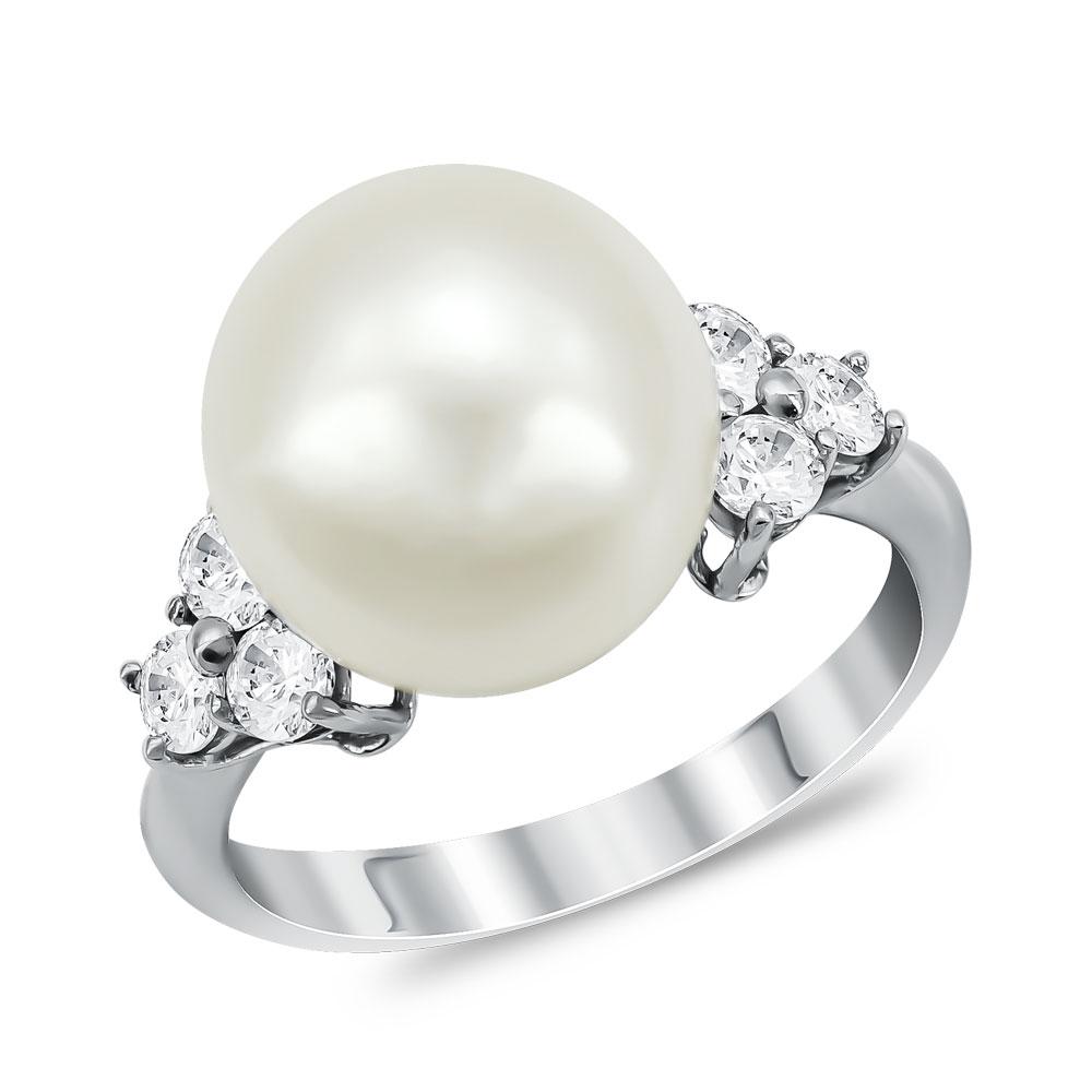 Δαχτυλίδι με Φυσικό Μαργαριτάρι από Λευκό Χρυσό Κ14 DX955
