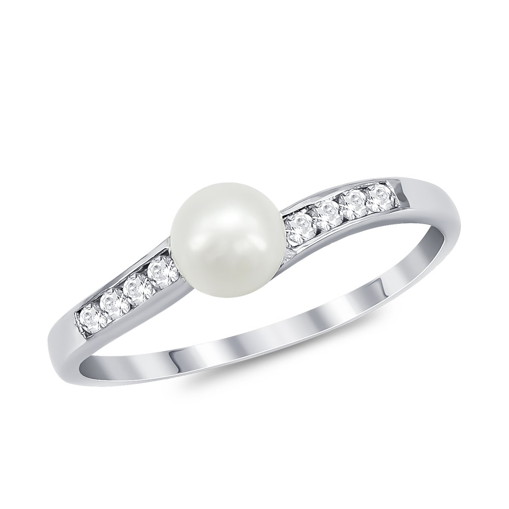 Δαχτυλίδι με Φυσικό Μαργαριτάρι από Λευκό Χρυσό Κ14 DX937
