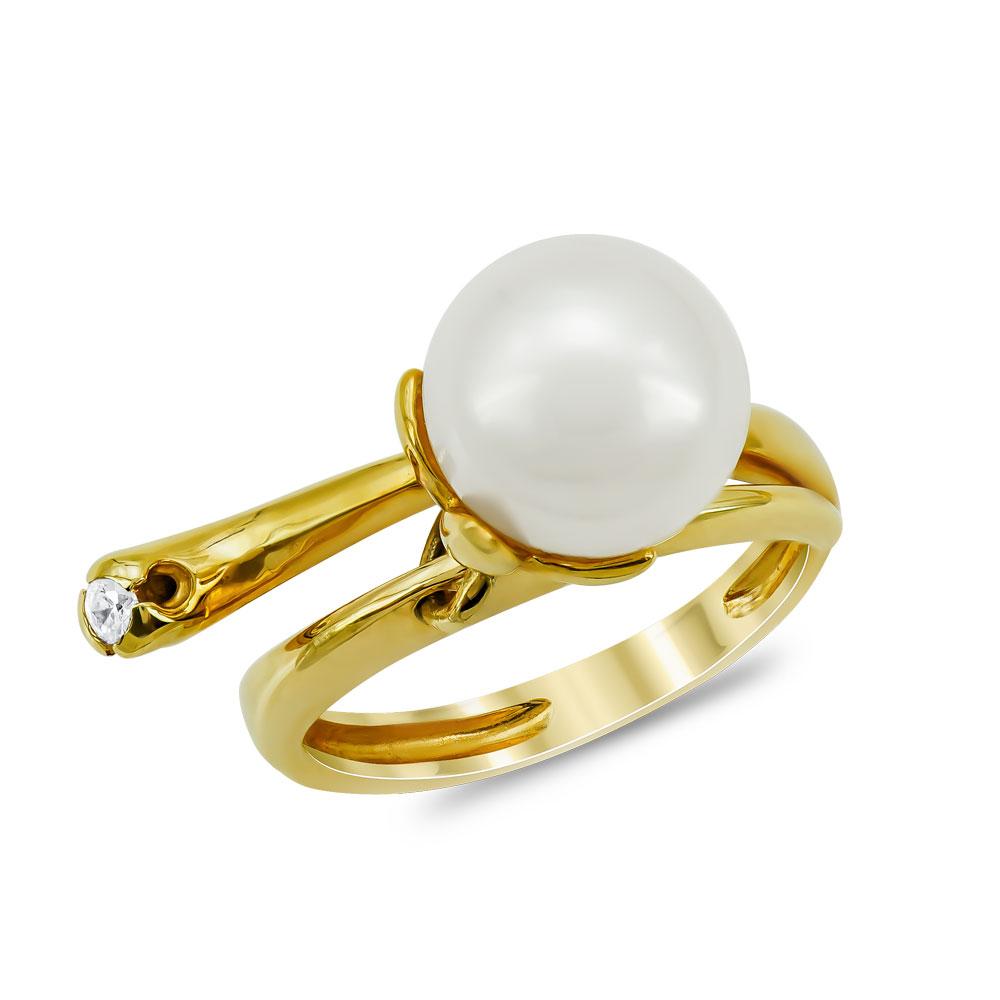 Δαχτυλίδι με Φυσικό Μαργαριτάρι από Κίτρινο Χρυσό Κ18 DX957