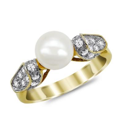 Δαχτυλίδι με Φυσικό Μαργαριτάρι από Κίτρινο Χρυσό Κ18 DΧ962