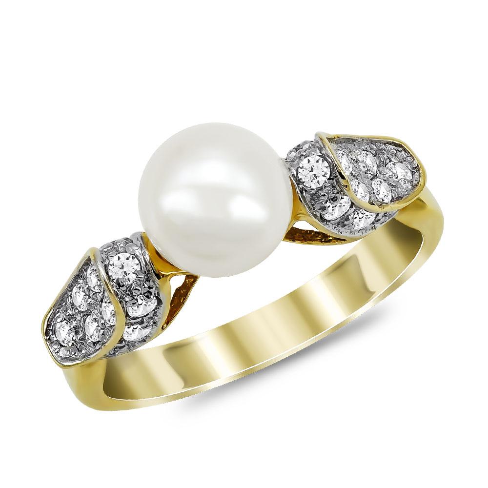 Δαχτυλίδι με Φυσικό Μαργαριτάρι από Κίτρινο Χρυσό Κ18 DX962