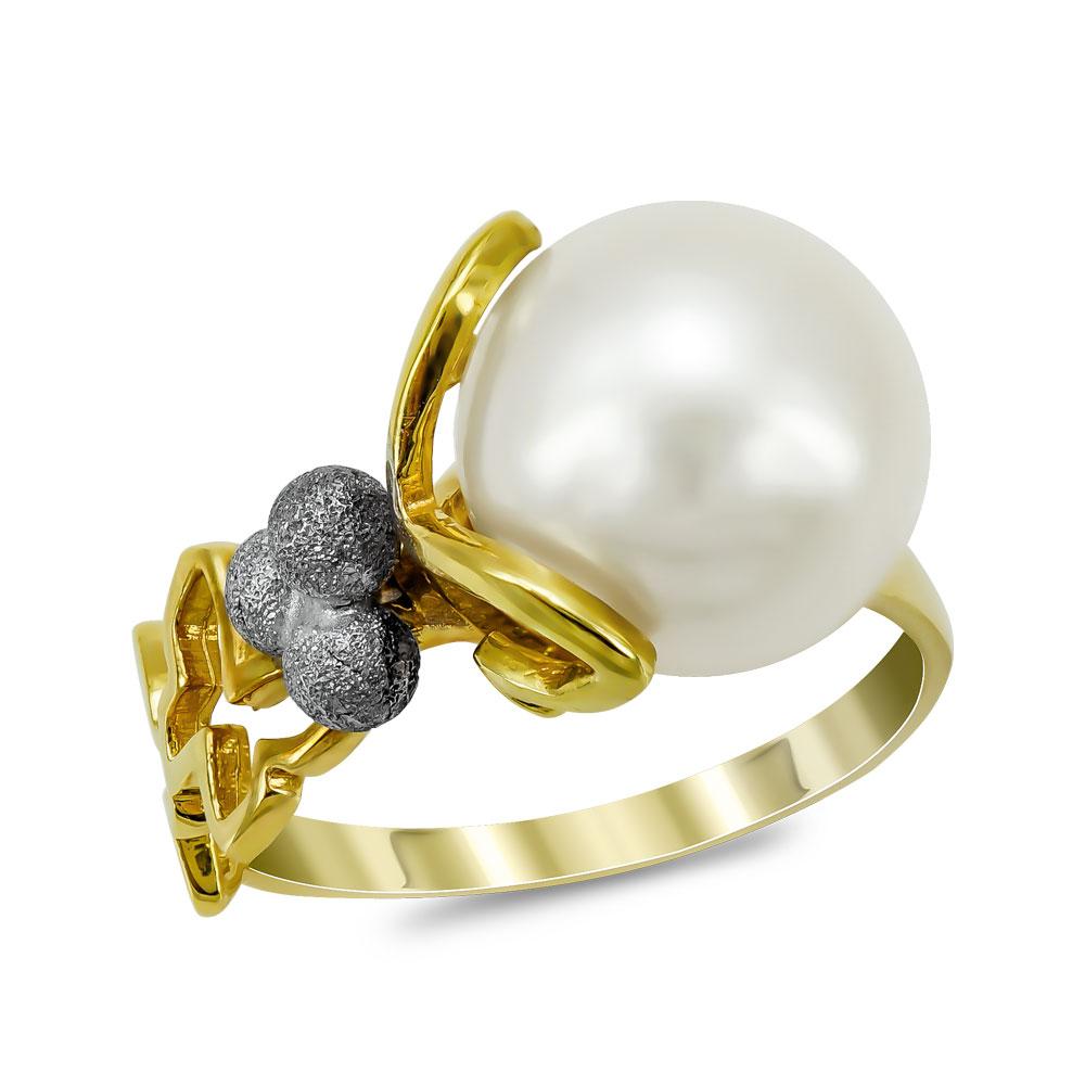 Δαχτυλίδι με Φυσικό Μαργαριτάρι από Κίτρινο Χρυσό Κ18 DX959