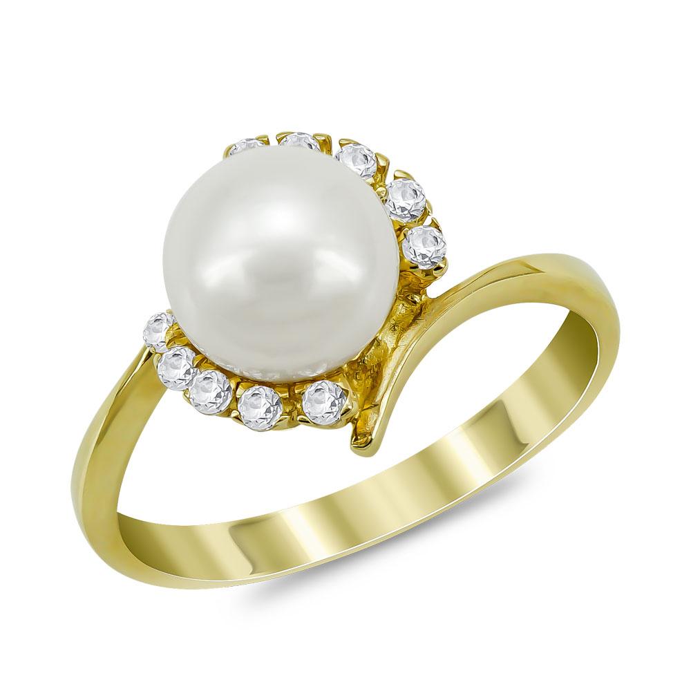 Δαχτυλίδι με Φυσικό Μαργαριτάρι από Κίτρινο Χρυσό Κ14 DX952