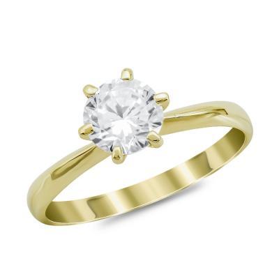 Μονόπετρο Δαχτυλίδι από Κίτρινο Χρυσό 14 Καρατίων DX977