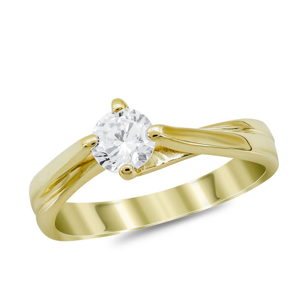 Μονόπετρο Δαχτυλίδι από Κίτρινο Χρυσό 14 Καρατίων DX978