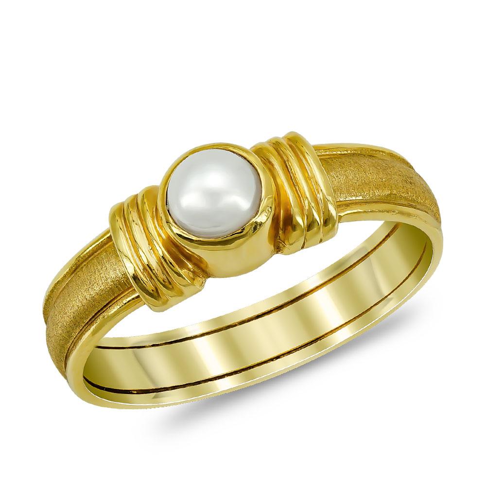 Δαχτυλίδι με Φυσικό Μαργαριτάρι από Κίτρινο Χρυσό Κ14 DX958
