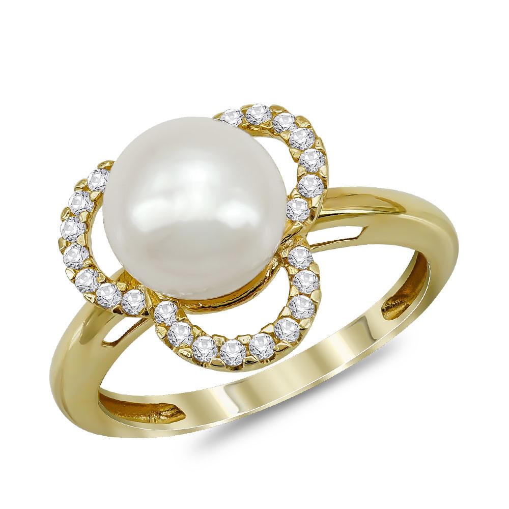 Δαχτυλίδι με Φυσικό Μαργαριτάρι από Κίτρινο Χρυσό Κ14 DX963