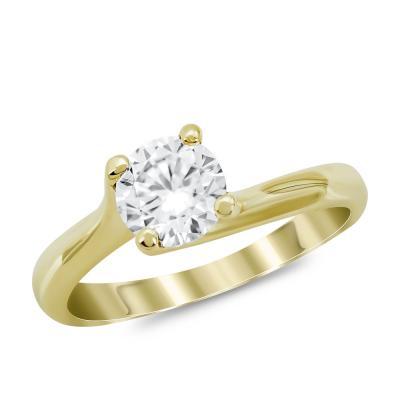 Μονόπετρο Δαχτυλίδι από Κίτρινο Χρυσό 14 Καρατίων DX982