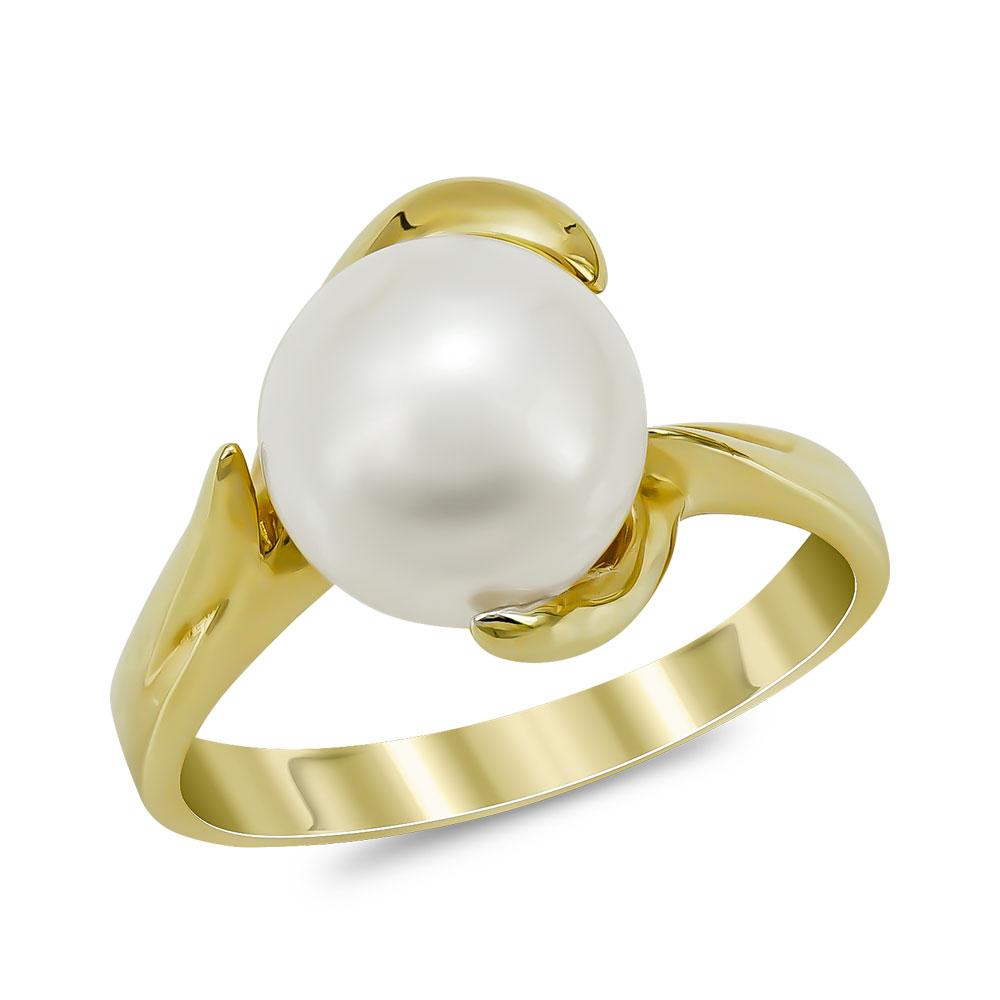Δαχτυλίδι με Φυσικό Μαργαριτάρι από Κίτρινο Χρυσό Κ14 DX956