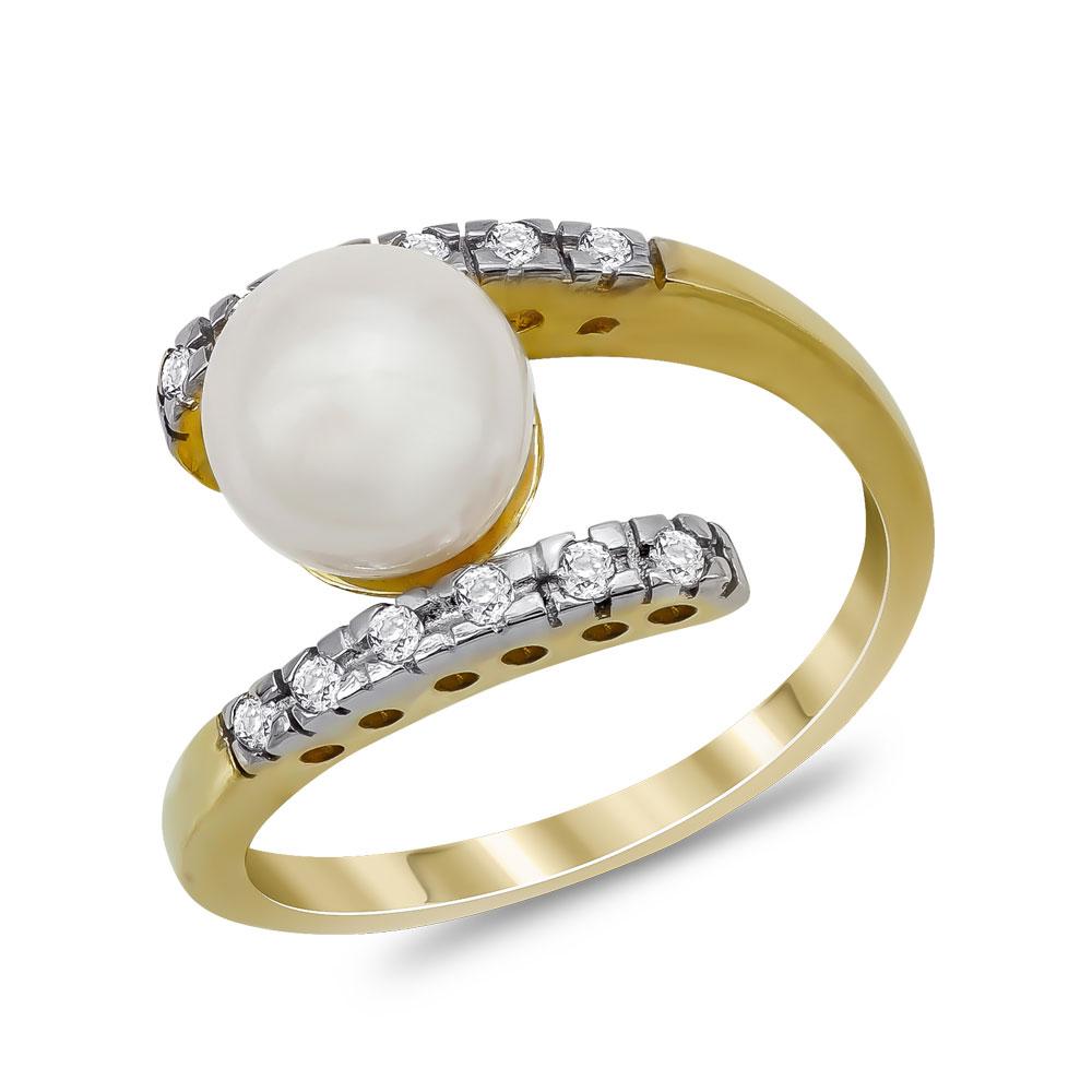 Δαχτυλίδι με Φυσικό Μαργαριτάρι από Κίτρινο Χρυσό Κ14 DX960
