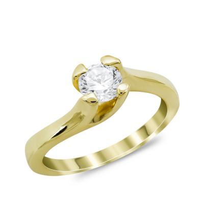 Μονόπετρο Δαχτυλίδι από Κίτρινο Χρυσό 14 Καρατίων DX980