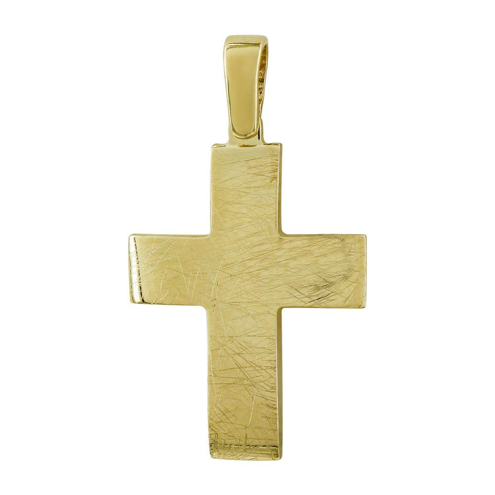 Σταυρός Βάπτισης Ανδρικός Σε Κίτρινο Χρυσό 14 Καρατίων ST2776