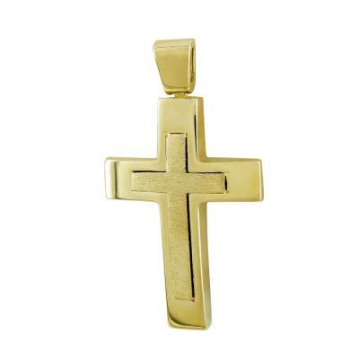 Σταυρός Βάπτισης Ανδρικός Σε Κίτρινο Χρυσό 14 Καρατίων ST2781