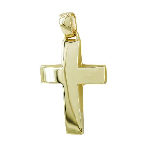 Σταυρός Βάπτισης Ανδρικός Σε Κίτρινο Χρυσό 9 Καρατίων ST2808