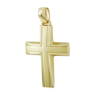 Σταυρός Βάπτισης Ανδρικός Σε Κίτρινο Χρυσό 9 Καρατίων ST2810