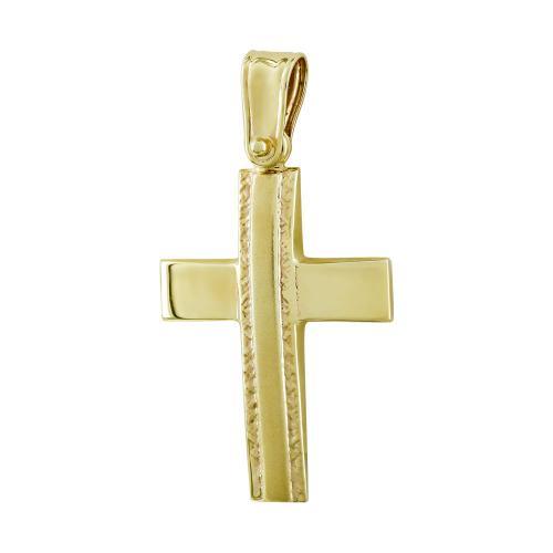 Σταυρός Βάπτισης Ανδρικός Σε Κίτρινο Χρυσό 9 Καρατίων ST2794