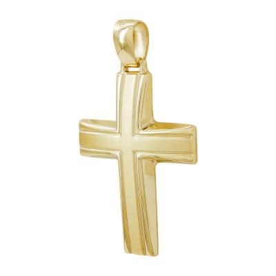 Σταυρός Βάπτισης Ανδρικός Σε Κίτρινο Χρυσό 14 Καρατίων ST2802