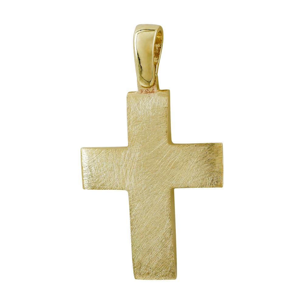 Σταυρός Βάπτισης Ανδρικός Σε Κίτρινο Χρυσό 14 Καρατίων ST2777