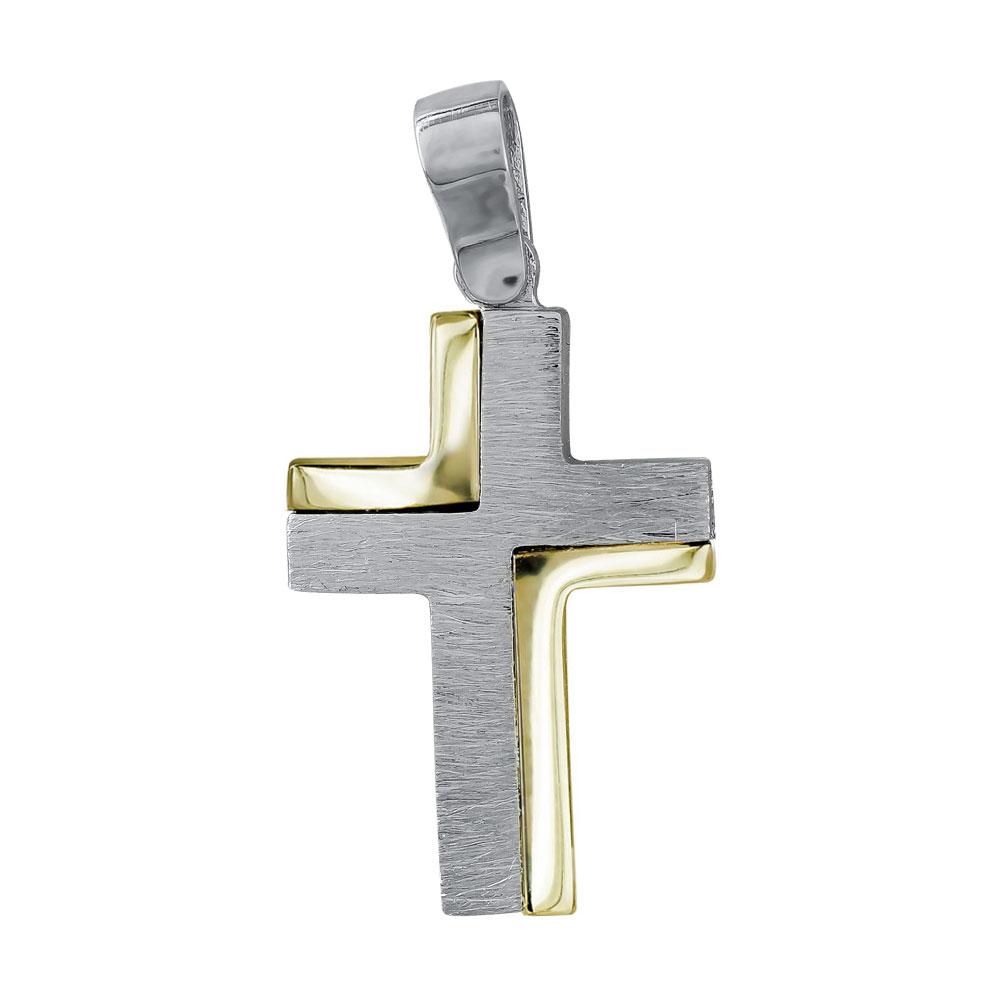 Σταυρός Βάπτισης Ανδρικός Σε Δίχρωμο Χρυσό 14 Καρατίων ST082911