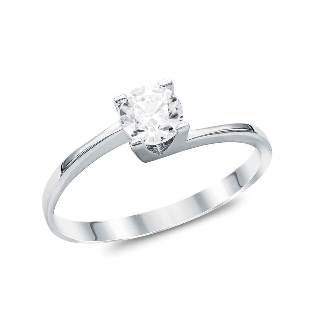 Mονόπετρο Δαχτυλίδι από Λευκό Χρυσό K14 DX099984