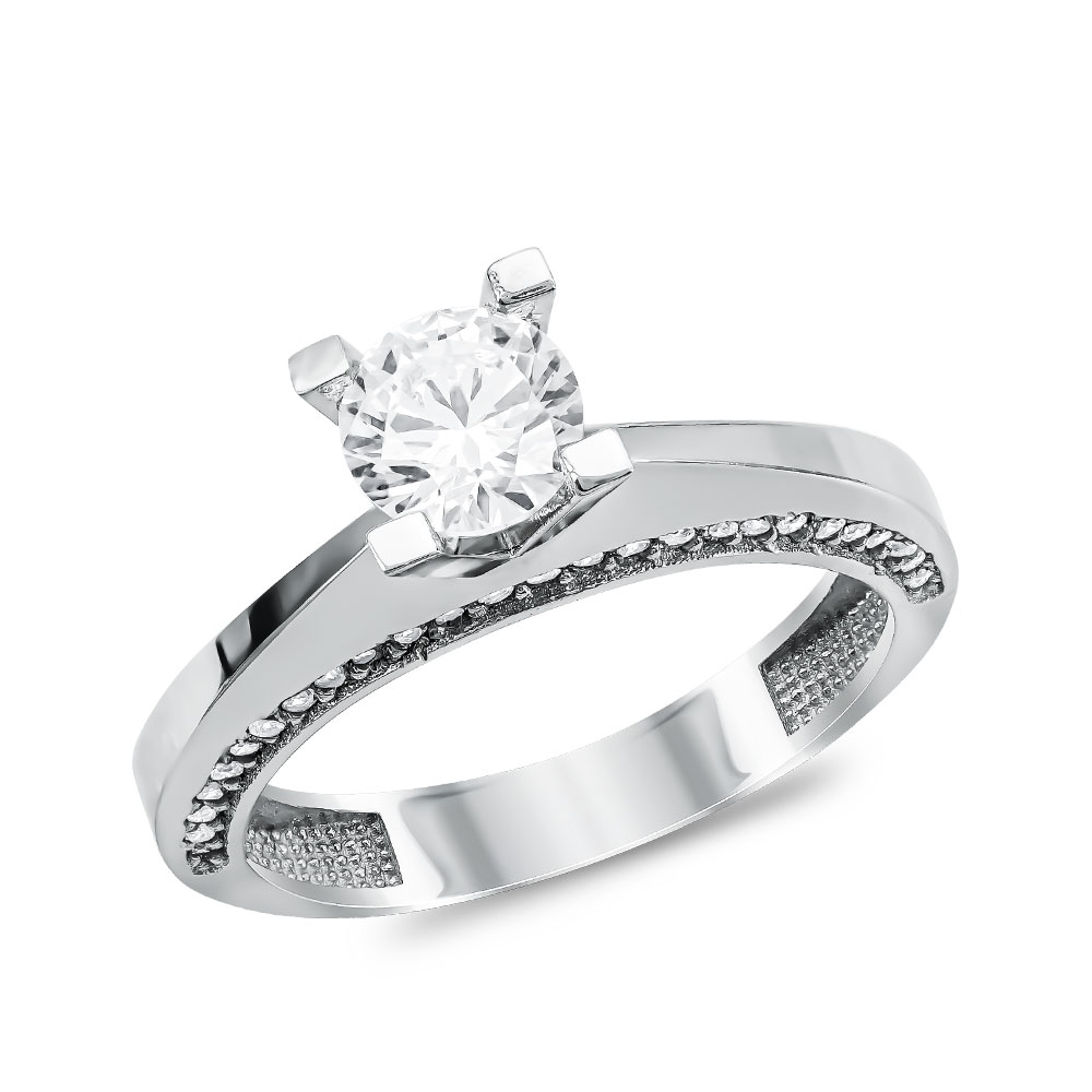 Mονόπετρο Δαχτυλίδι από Λευκό Χρυσό K14 DX104487