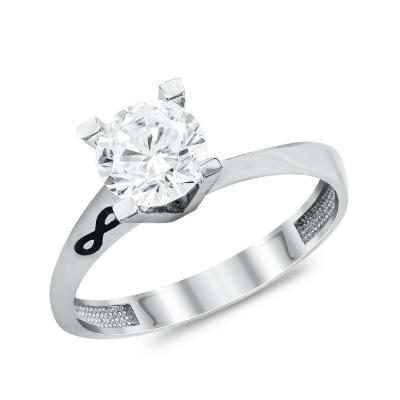 Μονόπετρο Δαχτυλίδι από Λευκό Χρυσό K14 DX111399