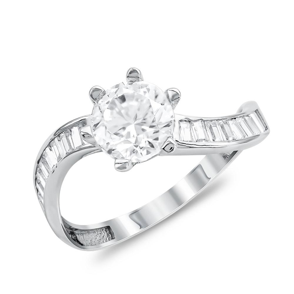 Μονόπετρο Δαχτυλίδι από Λευκό Χρυσό K14 DX111440
