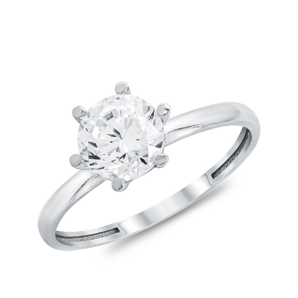 Μονόπετρο Δαχτυλίδι από Λευκό Χρυσό K14 DX112706
