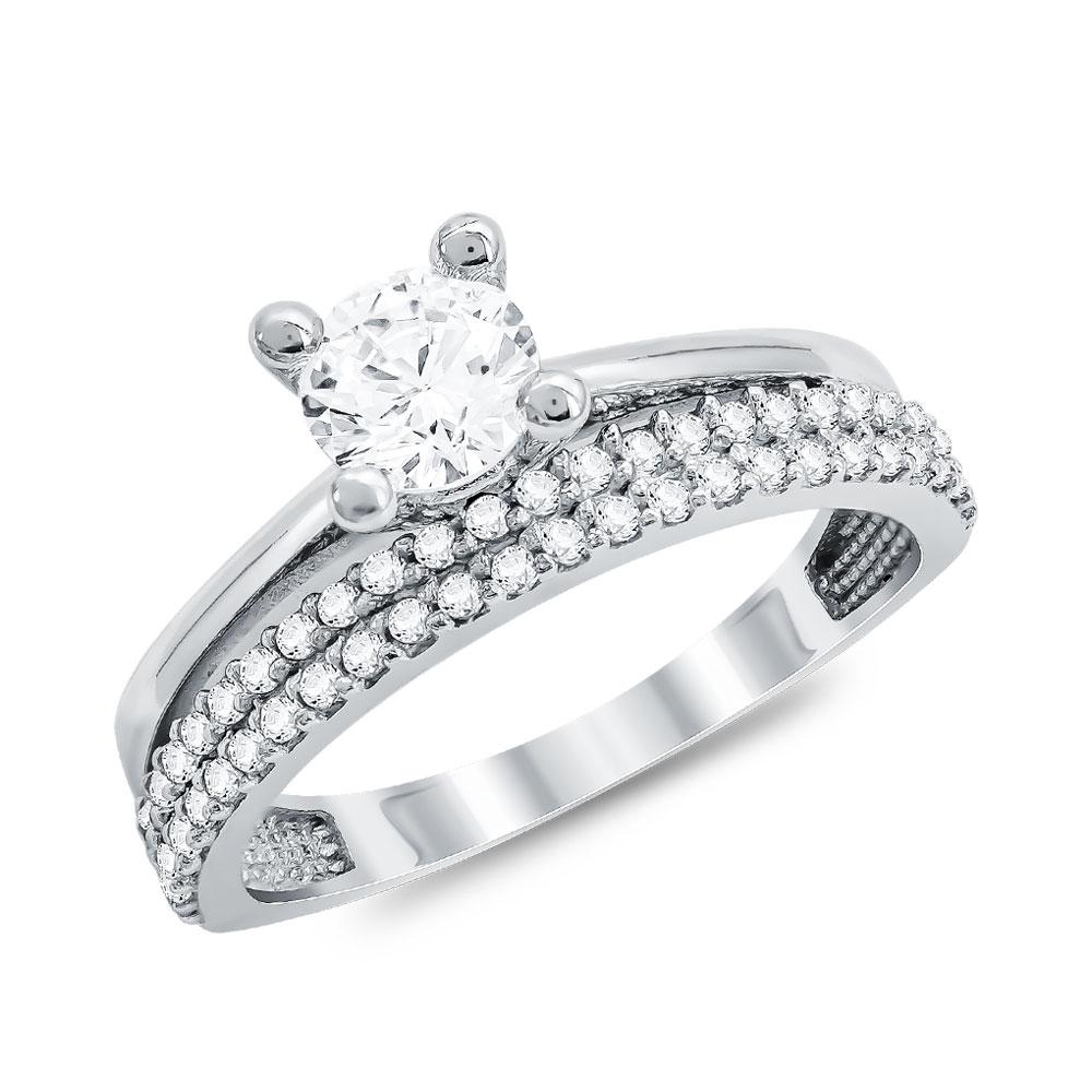 Μονόπετρο Δαχτυλίδι από Λευκό Χρυσό K14 DX113798