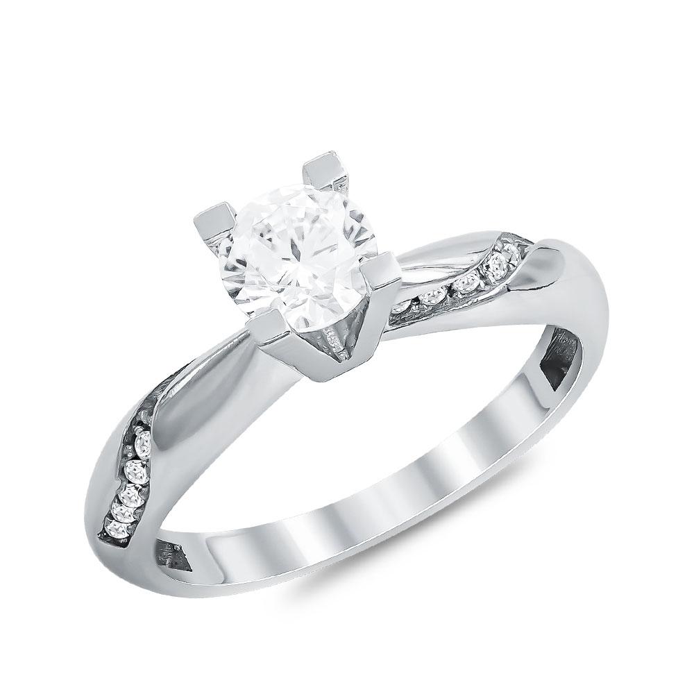 Μονόπετρο Δαχτυλίδι από Λευκό Χρυσό K14 DX113808