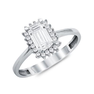 Μονόπετρο Δαχτυλίδι από Λευκό Χρυσό K14 DX113820