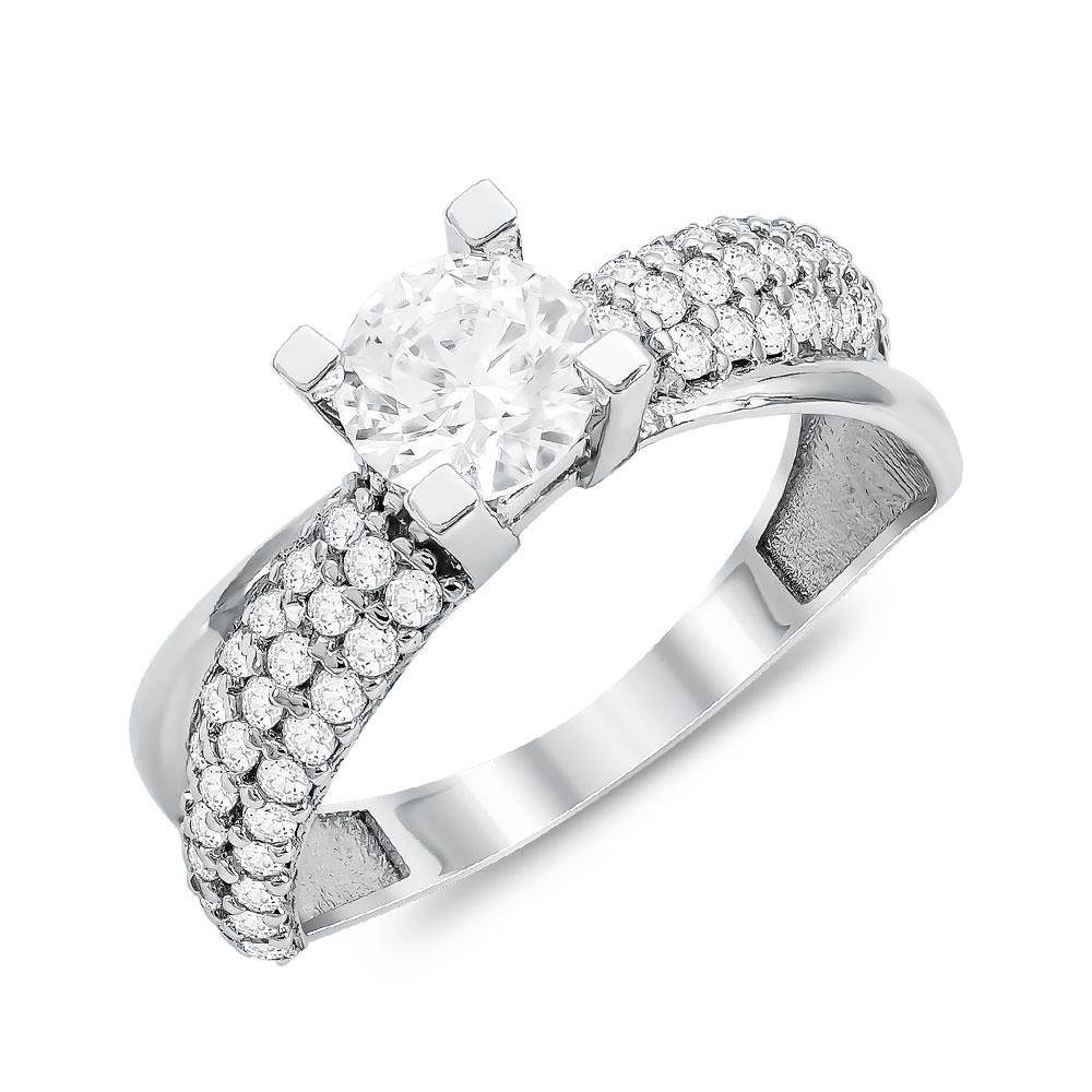 Μονόπετρο Δαχτυλίδι από Λευκό Χρυσό K14 DX111342
