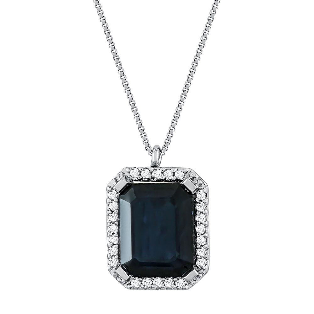 Κολιέ με Ζαφείρι και Διαμάντια Brilliant από Λευκό Χρυσό Κ18 KL030200
