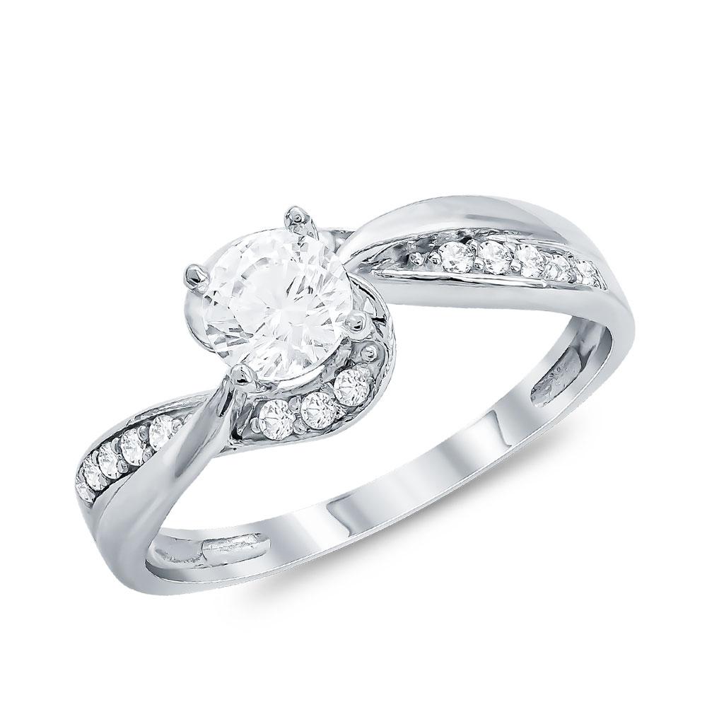 Μονόπετρο Δαχτυλίδι από Λευκό Χρυσό K14 DX086029