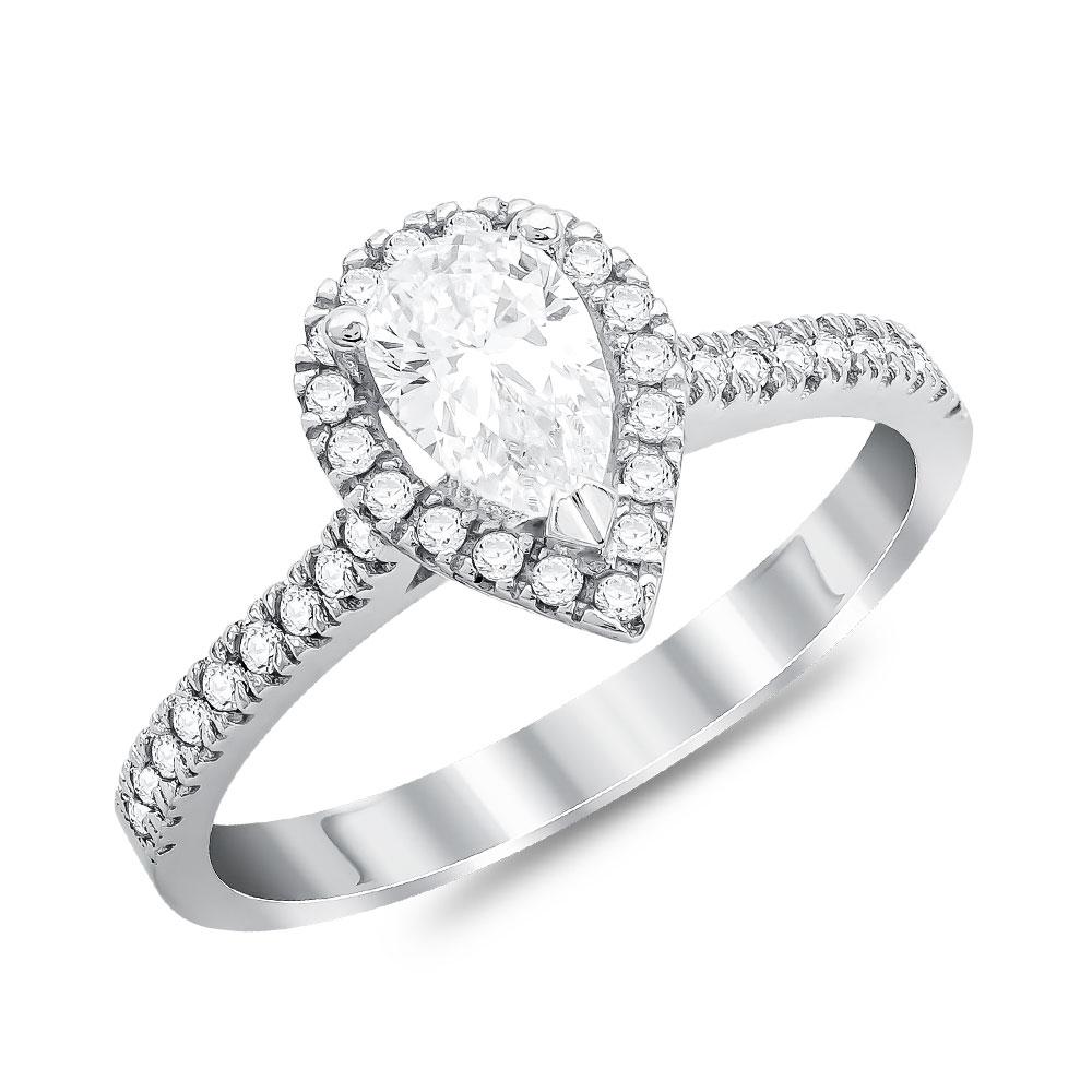 Μονόπετρο Δαχτυλίδι από Λευκό Χρυσό K14 DX114068