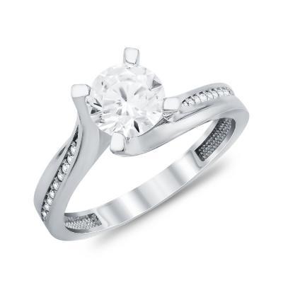 Μονόπετρο Δαχτυλίδι από Λευκό Χρυσό K14 DX111459