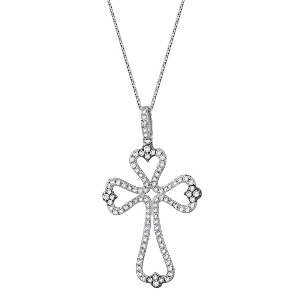 Σταυρός Βάπτισης Γυναικείος Σε Λευκό Χρυσό 18 Καρατίων Με Διαμάντια Brilliant ST051107
