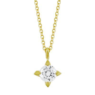 Κολιέ Μονόπετρο από Κίτρινο Χρυσό Κ9 ΚL64823