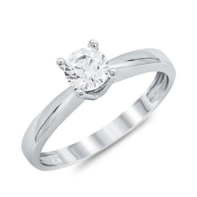 Μονόπετρο Δαχτυλίδι από Λευκό Χρυσό K14 DX111805