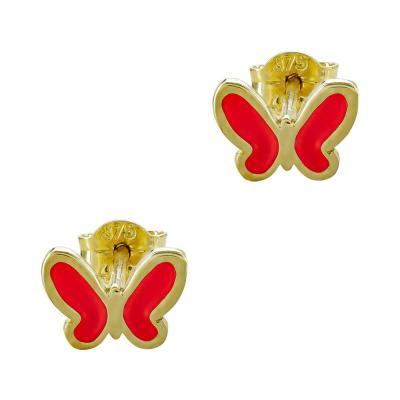 Παιδικά Σκουλαρίκια Πεταλούδα Από Κίτρινο Χρυσό Κ9 PSK113056