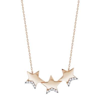 Κολιέ με Αστεράκια από Ροζ Χρυσό K14 KL103635