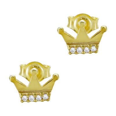 Παιδικά Σκουλαρίκια Kορώνα Από Κίτρινο Χρυσό Κ9 PSK107903