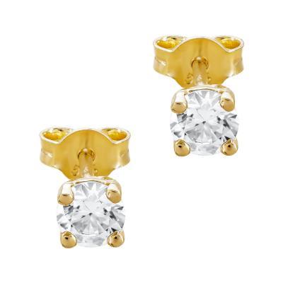 Σκουλαρίκια Mονόπετρο Από Κίτρινο Χρυσό Κ14 SK090541